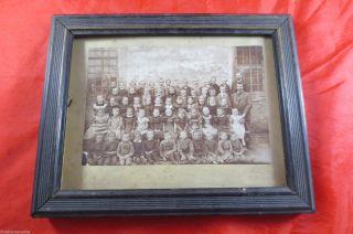 Uraltes Foto Gerahmt Um 1915 Schule Schulklasse Lehrer Gelenau Erzgebirge Bild