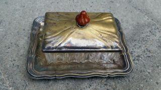 Versilberte Butterdose Mit Glaseinsatz / Gepunzt / Art Deco / Jugendstil Bild