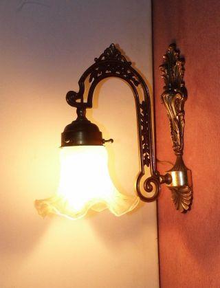 Nachlaß Antike Edle Wandlampe Leuchte Licht Aus Messing Mit Glasschirm Bild