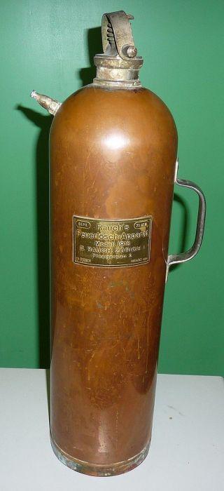 Antiker Feuerlöscher Kupfer Rauch Zürich Modell 1910 Mit Halterung Bild