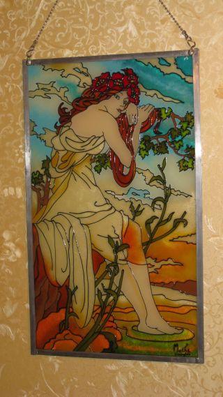 Mucha 4 - Jahreszeiten Glas Bleirahmen 37x62,  5 Cm Bild