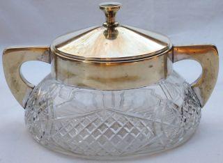 Alte Gr.  Art Deco Kristall Bonboniere Mit Metallmontur Um 1920/30 Quist Bauhaus Bild
