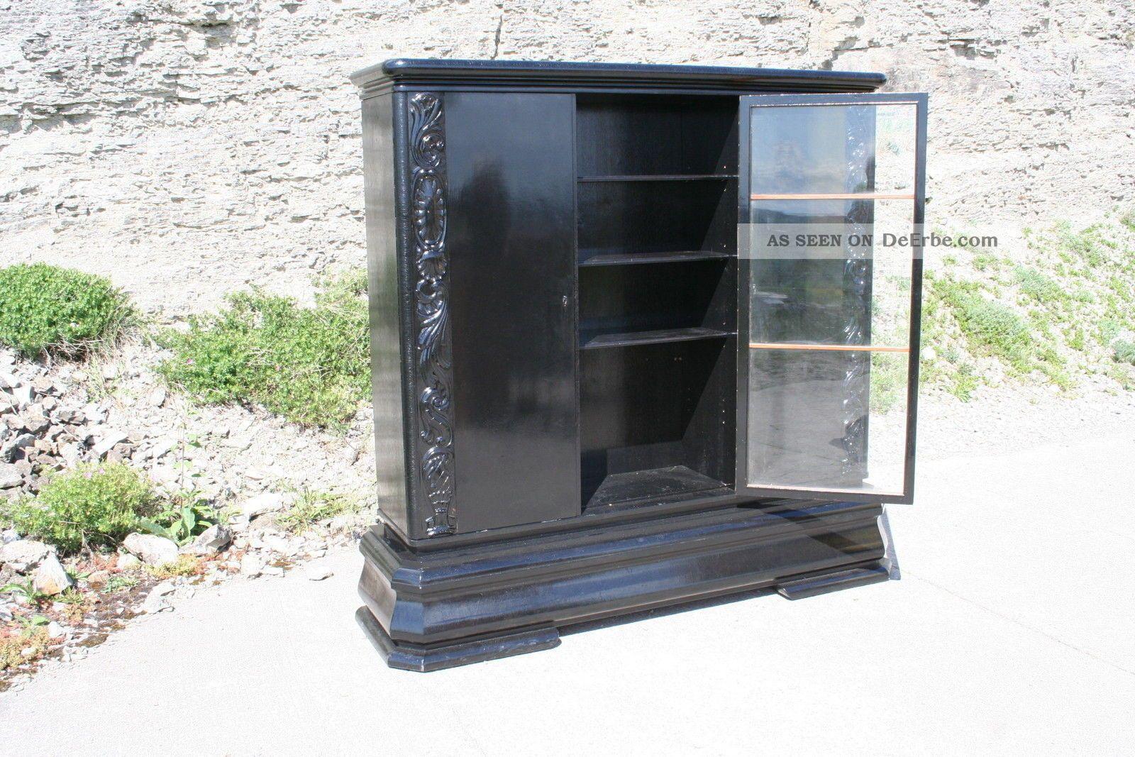 schrank berlin vitrine kleiderschrank b cherschrank schwarz art deco hochglanz. Black Bedroom Furniture Sets. Home Design Ideas
