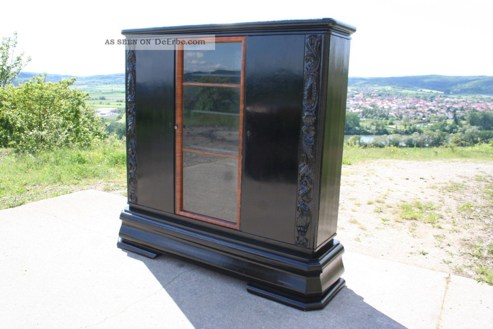 schrank berlin vitrine kleiderschrank b cherschrank schwarz art deco hochglanz. Black Bedroom Furniture Sets. Home Design Ideas