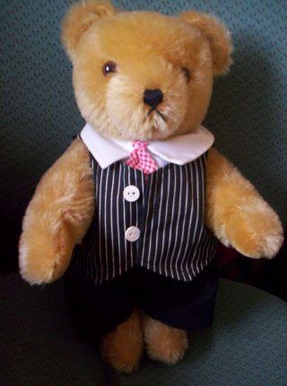 Teddybär Hermann Mohair Blond,  Hart Gestoft,  5 Fach Gegliedert,  Stimme Bild