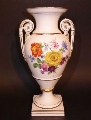 Meissen Amphoren - Vase (30 Cm) Mit Beidseit.  Blumenbouquet Pfeifferzeit (m) Bild