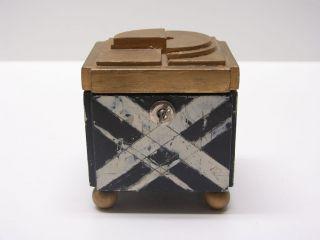 Kubistische Holzschachtel 1940/60 Holzdose Schwarz & Weiß Deckeldose Kubismus Bild