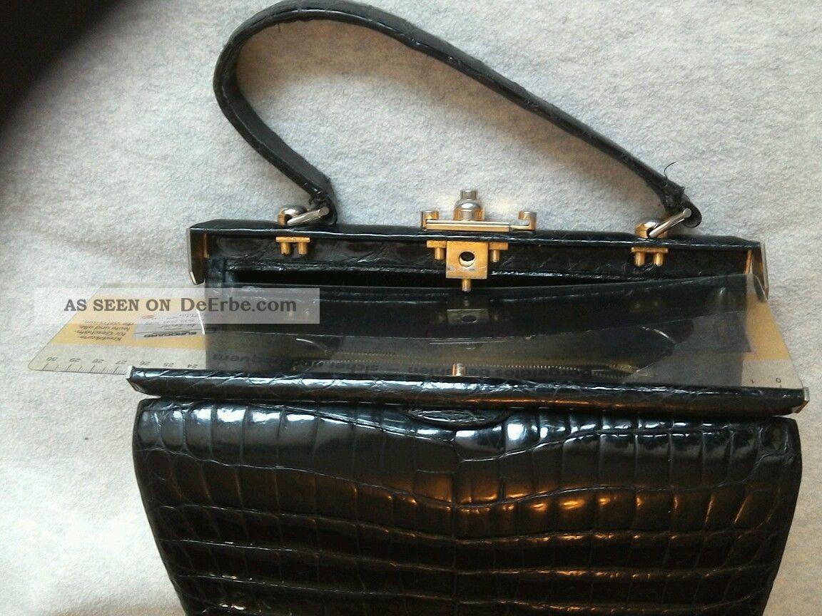 adb34fa6a7372 Vintage Handtasche Tasche Kelly Echtleder Kroko - Optik Schwarz Gut  Erhalten Chic