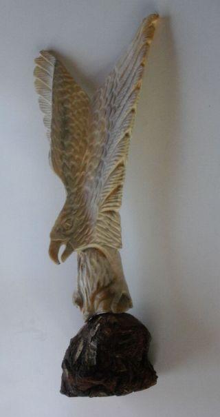 Rarität Antike Missionarsarbeit - Großer Bein Geschnitzter Adler Auf Holzsockel Bild