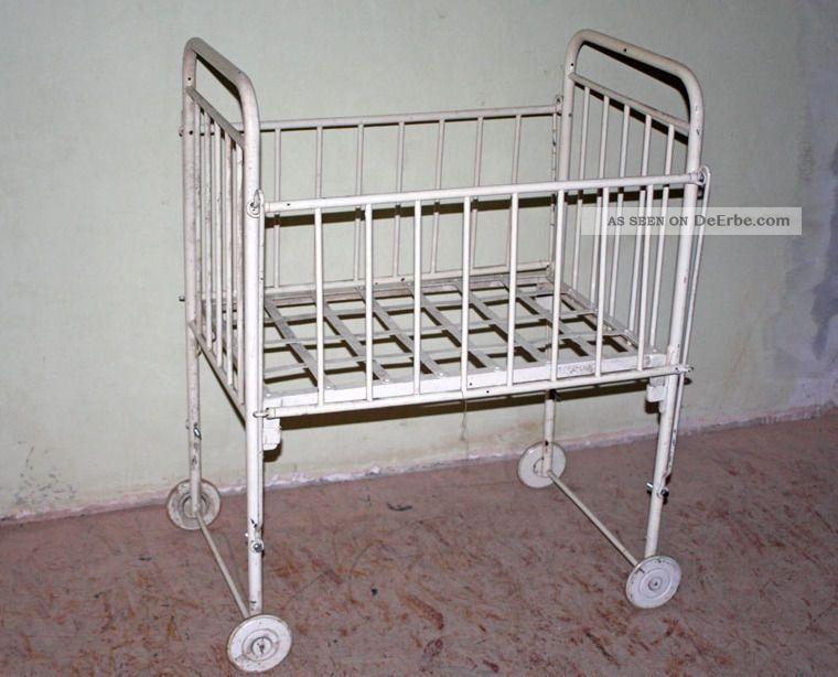 Vintage Kinderbett Eisenbett Gitterbett Kinder Bett Krankenhaus ...