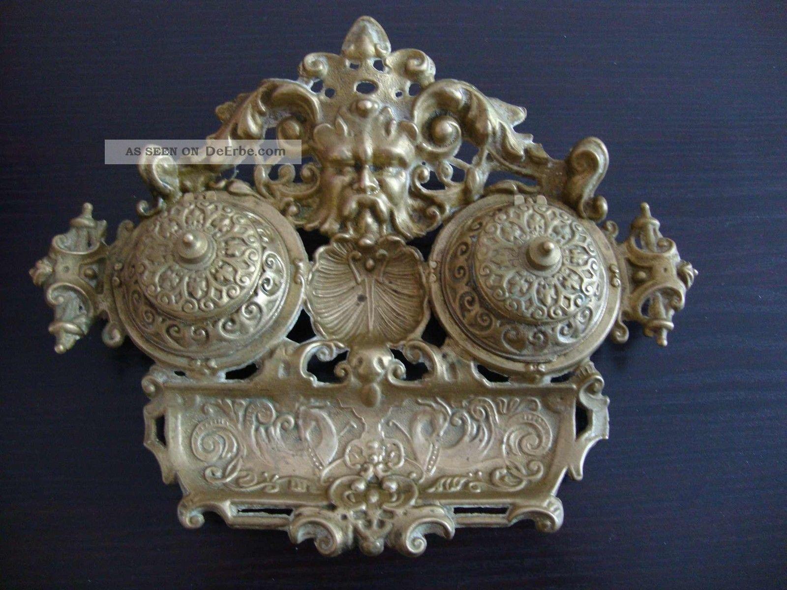 Schreibtischablage mit 2 tintenfass antikstil for Garderobe 8003