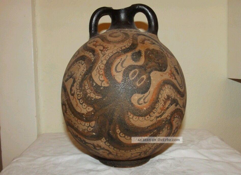 Minoische Octopus Vase Minoan Cretan Vase 1500 Bc Museum Copy Ca.  50 Jahre Alt Antike Bild