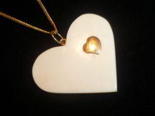 Antiker Herz - Anhänger Aus Bein Mit 750 Gold,  Nur Für 1 Tag Bild