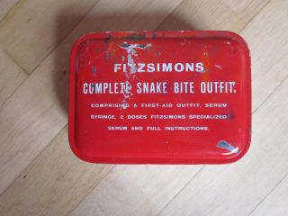 Fitzsimons Snake Bite Outfit; Vintage Medical Tin Serum Schlangenserum Bild