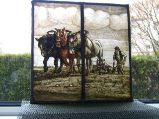 (a480 - 199) Bauer M.  Pferde,  Pflug A.  D.  Acker=unikat - RaritÄt:fensterbild - Bleiverglast Bild