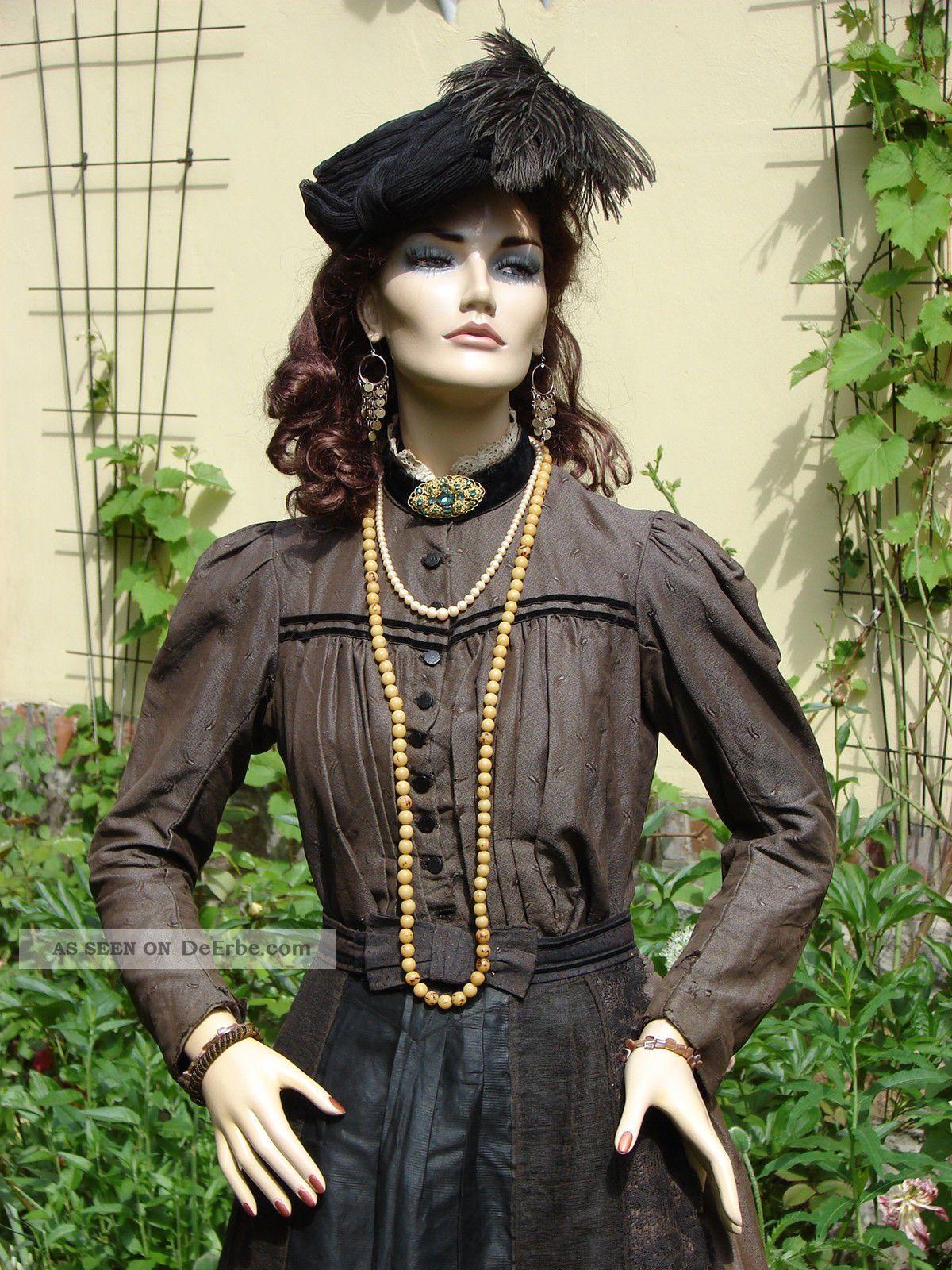 O. Antikes Tournürenkleid Mit Hut Bustle Kleid Krinolinenkleid Cul De Paris 1870