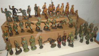 56 Seltene Elastolin,  Lineol,  Militär Masse Figuren,  Soldaten,  Alle Beschädigt 7,  5cm Bild