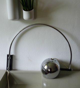 Space Age Bogenlampe Wandlampe Chrom Wall Lamp Panton Ära 60er 70er Bild