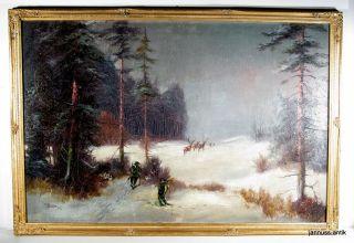 Altes Ölgemälde Im Prunkrahmen Auf Der Pirsch Fr.  Drewes Schöne Künstlerarbeit Bild