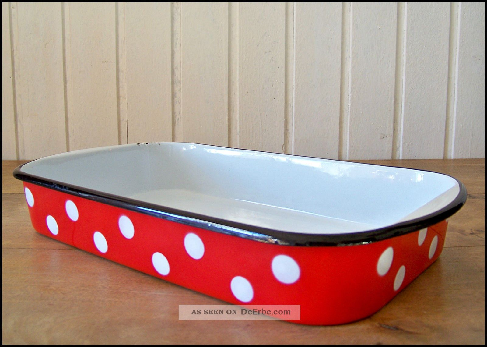 emaillierte auflaufform rot weiss getupft email ofen vintage enamel oven dish. Black Bedroom Furniture Sets. Home Design Ideas