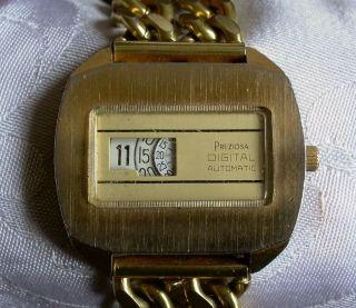 Um 1970: Preziosa Digital Automatic Vollmechanische Scheibenuhr Armbanduhr Bild
