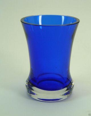 Pokal Fußbecher Vase 13 Cm Kristall Unterfang Blau Handarbeit Bild