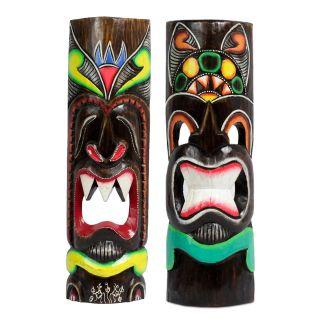 2 Hawaii Masken Aloha Tiki Wandmasken Maske 50 Cm Maskenset Südsee Style 74/80 Bild