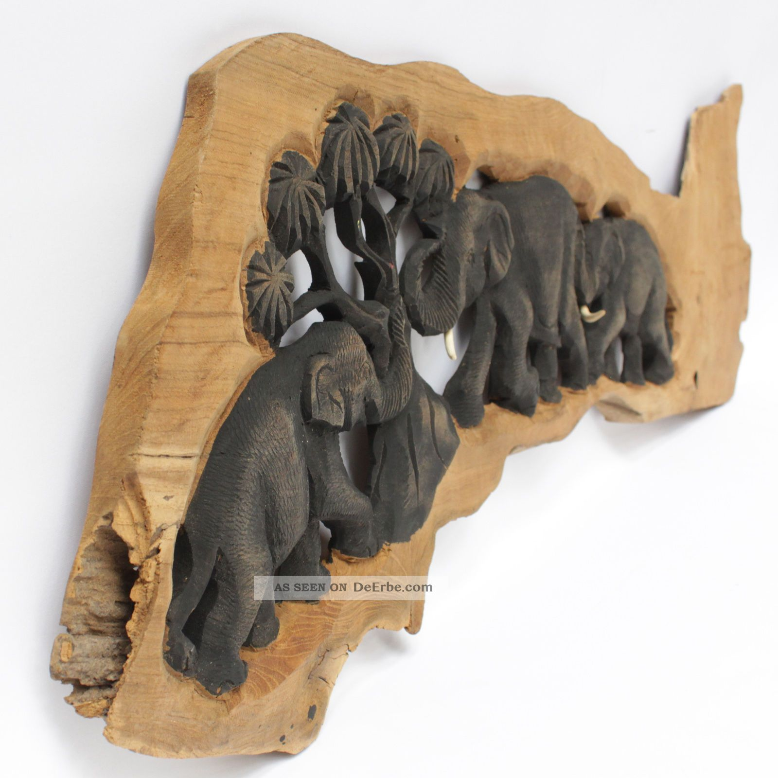 elefantenfamilie elefant holz baumstamm wandbild relief skulptur 72cm 19 06 6. Black Bedroom Furniture Sets. Home Design Ideas