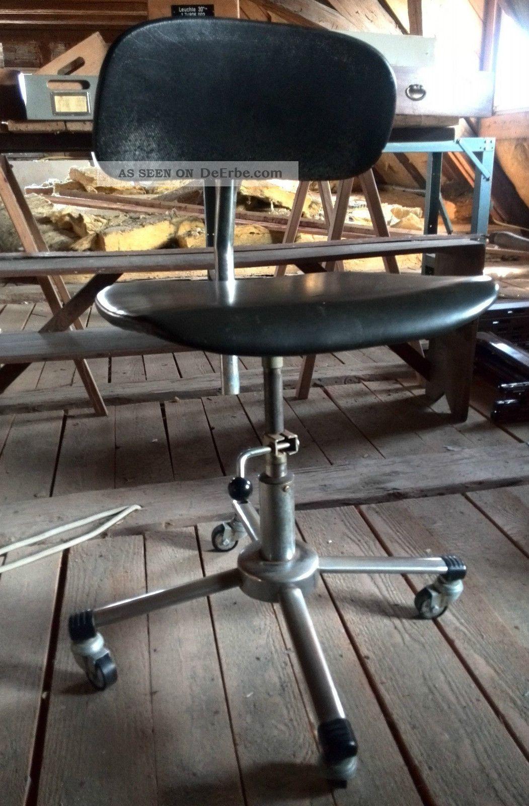 Alter b rostuhl schreibtisch stuhl drehstuhl vintage 70er for Schreibtisch 70er jahre