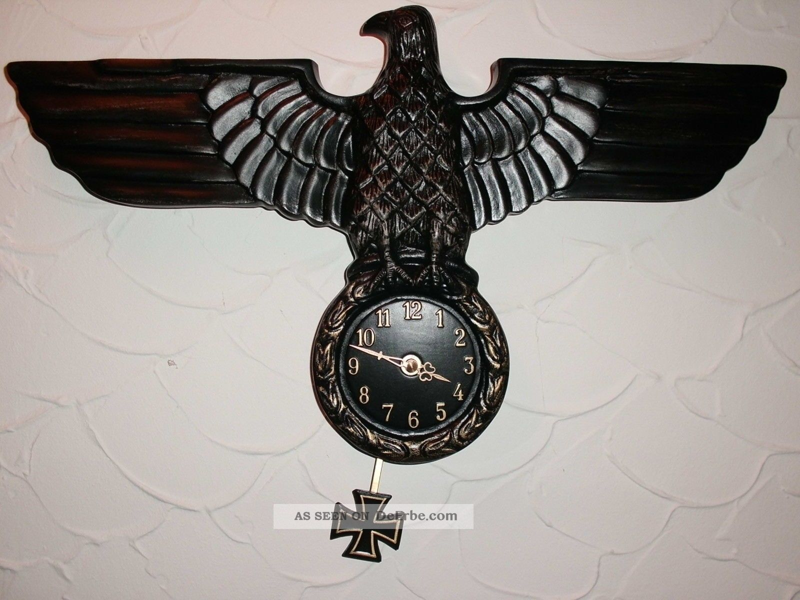 adler wanduhr design deko antik reichsadler 1944 lorbeerkranz military pendeluhr. Black Bedroom Furniture Sets. Home Design Ideas