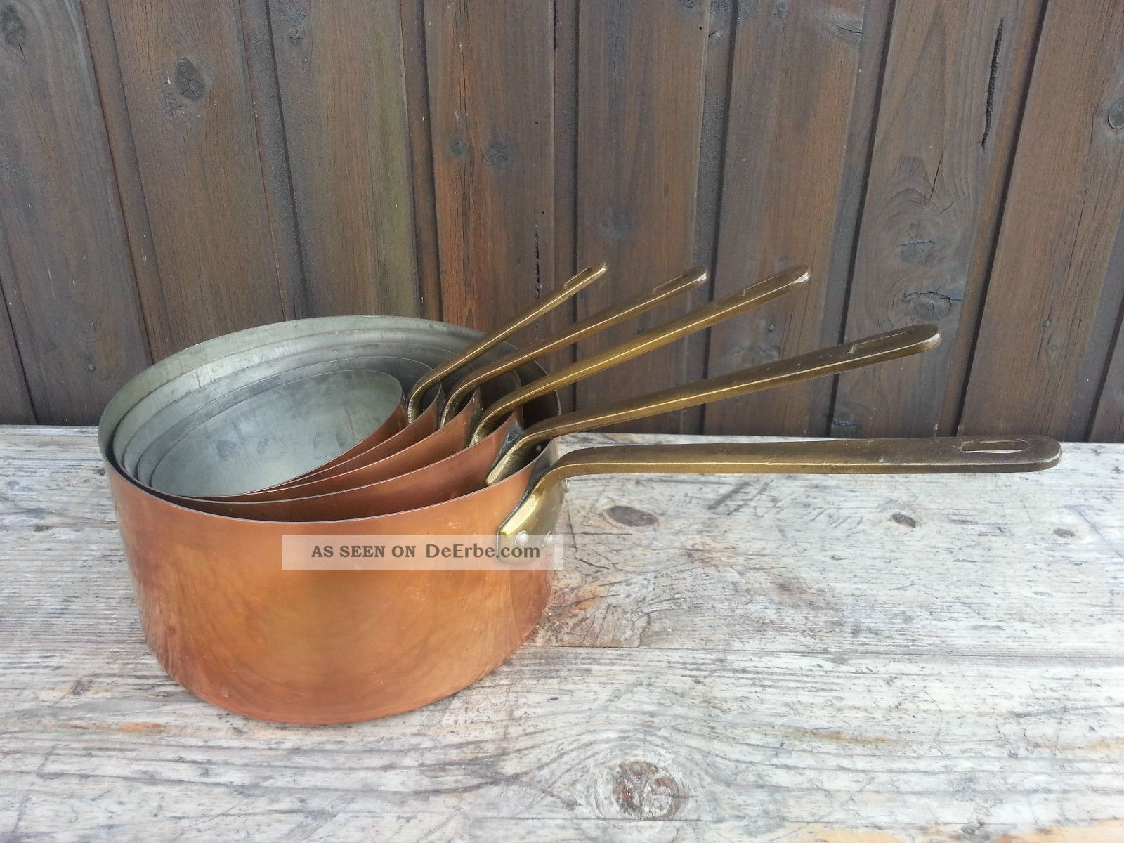 5 Alte Kupfertöpfe / Kasserollen / Metaux Ouvres Vesoul Art De Cuisine - France Haushalt Bild