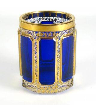 Glas Becher Geschliffen Steiner & Vogel Biedermeier Stil Golddekor Glass Beaker Bild