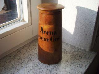 Wunderschöner Apothekerbehälter Aus Holz - Kräuter - 19 Cm - Avena Excorticat. Bild