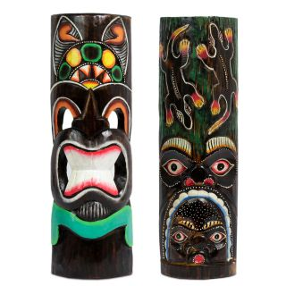 Hawaii Masken Südsee Style Aloha Tiki Wandmasken Maske 50cm Maskenset 80/85 Bild