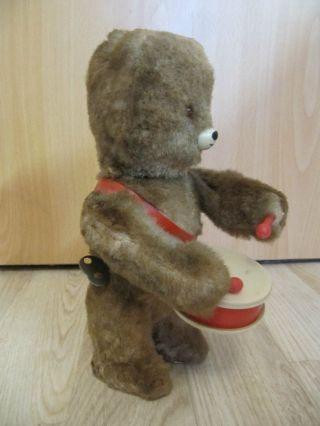 Alter Mechanischer Teddybär Bär Mit Trommel.  Teddy Zum Aufziehen 23cm Ddr Bild
