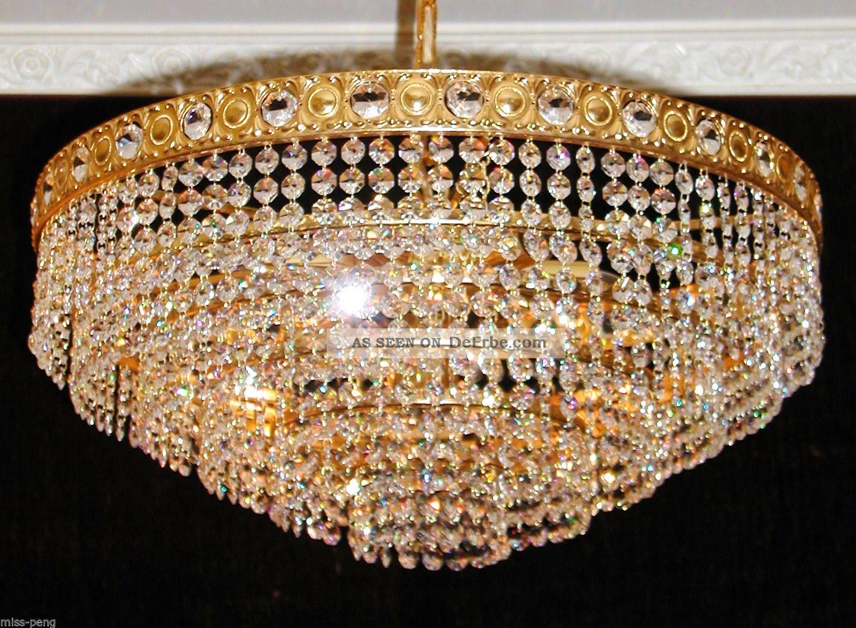 kristall kronleuchter l ster deckenlampe echt stra bleikristall gold korb. Black Bedroom Furniture Sets. Home Design Ideas