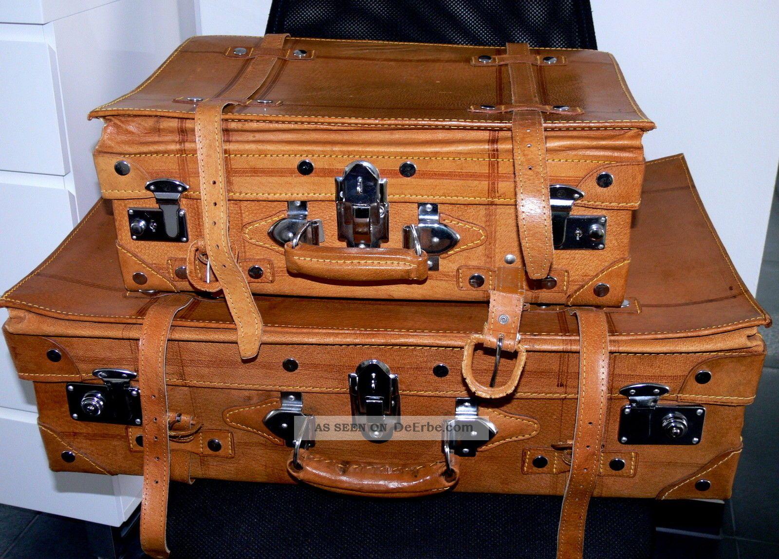 2 leder koffer gro und klein vintage koffer f r oldtimer cabrio mit schl ssel. Black Bedroom Furniture Sets. Home Design Ideas