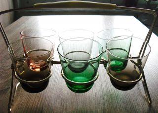 6 Vintage CognacglÄser / LikÖr GlÄser Mit StÄnder Aus Den 50er - 60er Jahren Bild