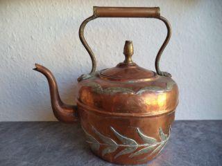 Alte Kanne Mit Deckel Wasserkanne Kupfer Orientalische Handarbeit Wasserkessel Bild