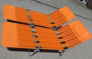 2 Stück Liege Liegestuhl Sonnenliege Klappliege Orange 70er Jahre Vintage Bild