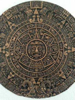 Rot Braun Großer Azteken Kalender Wandrelief Wandbild Steinguss Beton Bild