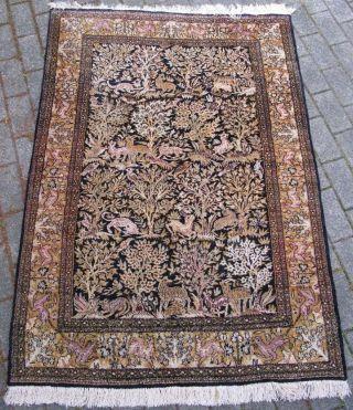 Orientteppich / Teppich Kaschmir Seide 170x110 Cm,  Pflanzen & Tier Motive Bild