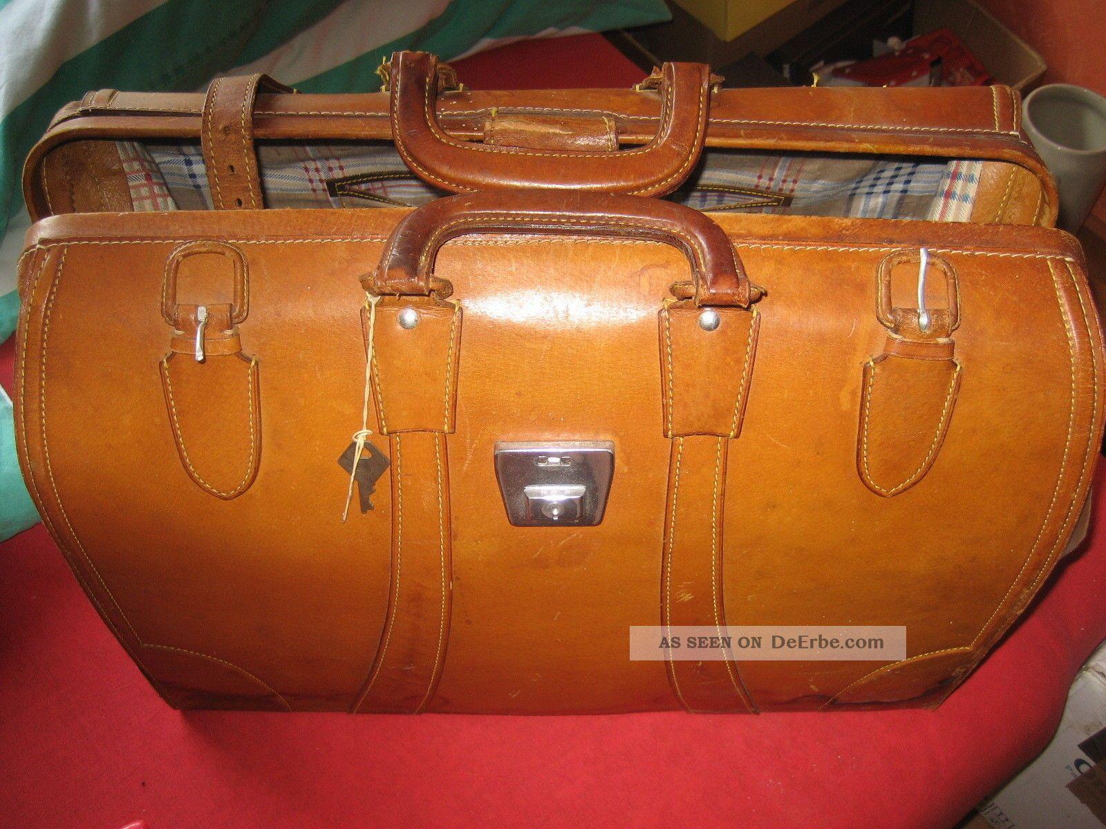 f7712060e5125 Alte Reisetasche Doktortasche Tasche Leder Braun Vintage Bild