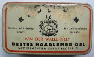 Alte Leere Medizinische Blechdose / Haarlemer Öl Bild