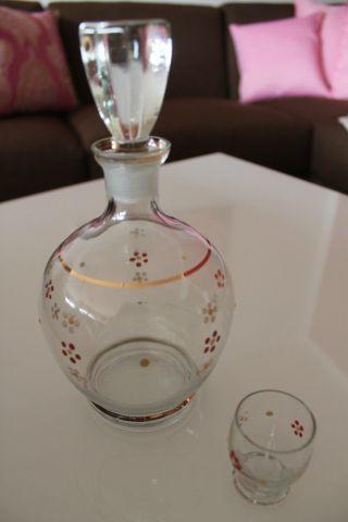 Alte Kleine Glas Karaffe LikÖrkaraffe Plus 1 GlÄschen Handbemalt Bild