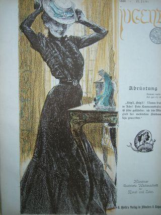Jugend 25 - 1899 Jugendstil.  Mode,  Hutmode / E.  M.  Lilien Bild