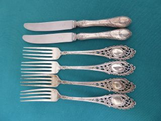 4 Speisegabeln,  2 Messer 800 Er Silber Koch Und Bergfeld 452 Gr Floral Bild
