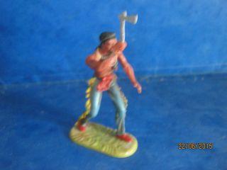Ind 7 - 0222 Indianer Tomahawk Echt Werfend 7cm Elastolin 60er Jahre Kellerfund Bild