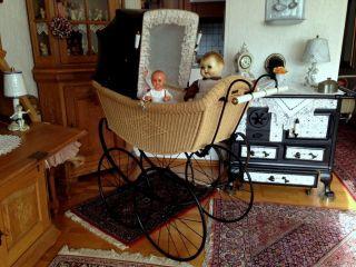 Rarität Alter Traumschöner Korb Kinderwagen Von Naether Um 1900 Puppenwagen Bild