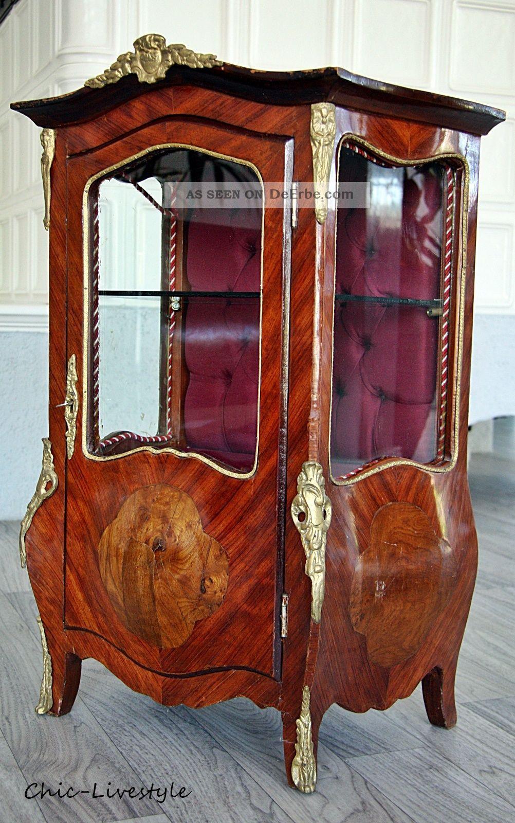 chippendale grunderzeit kleine vitrine antik alt mini barock kommode mini. Black Bedroom Furniture Sets. Home Design Ideas